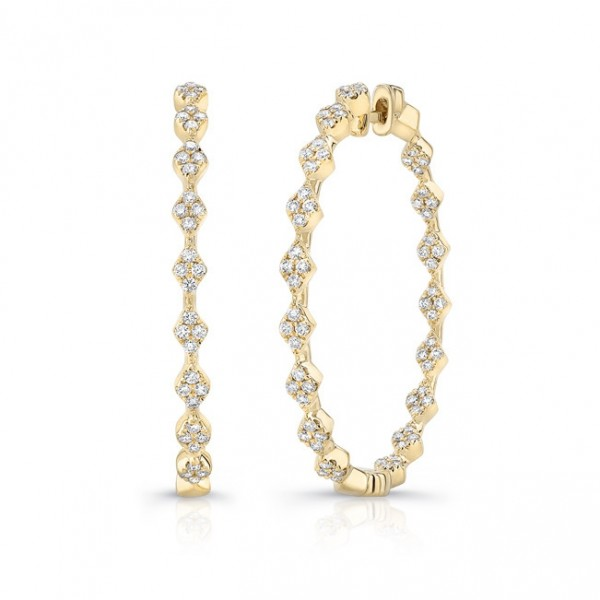 "Uneek ""Mulholland"" Inside-Out Diamond Hoop Earrings in 14K Yellow Gold"