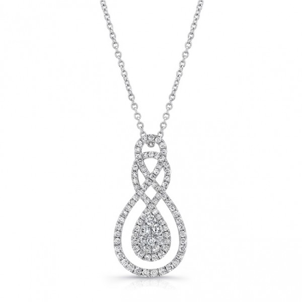 Uneek Double Infinity Diamond Cluster Openwork Pendant in 14K White Gold