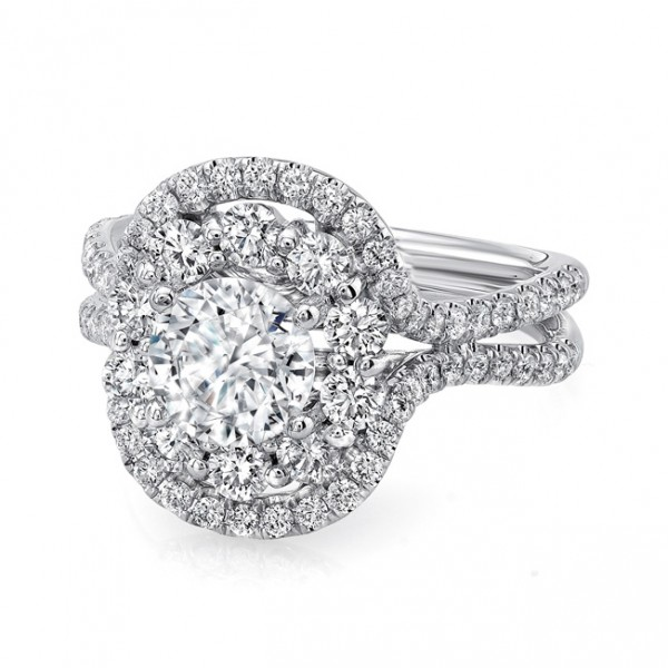 Uneek Round Diamond Engagement Ring with Oval-Shaped Mixed Double Halo and Pave Double Shank, in 14K