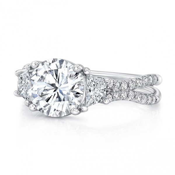 """Uneek Round-Center Classic Three-Stone Engagement Ring with Pave """"Silhouette"""" Double Shank, in 18K W"""