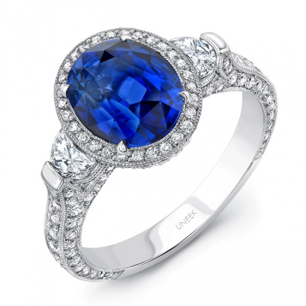 Uneek Deco-Inspired Oval Blue Sapphire and Half-Moon Diamond Three-Stone Ring, in Platinum