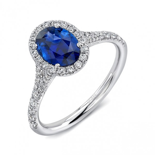 Uneek Petite Oval Blue Sapphire Ring with Diamond Halo and Split Upper Shank, in 18K White Gold