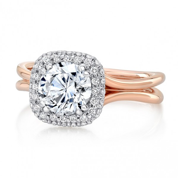 "Uneek Round Diamond Two-Tone Engagement Ring with Cushion-Shaped Bombé Halo and ""Silhouette"" Do"