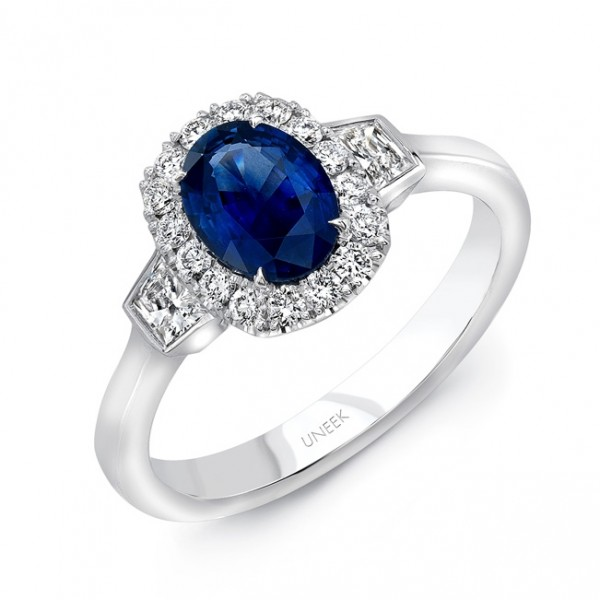 Uneek Oval Blue Sapphire and Trapezoid Diamond Three-Stone Ring in 18K White Gold