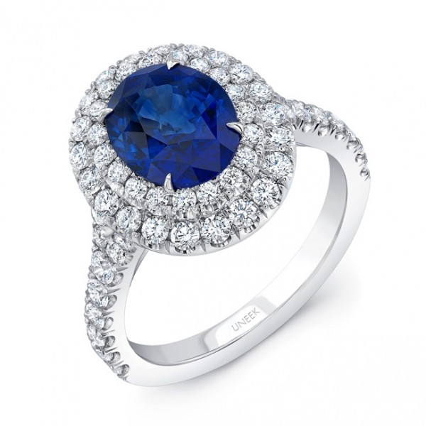 Uneek Oval Blue Sapphire Ring with Diamond Double Halo, in 18K White Gold