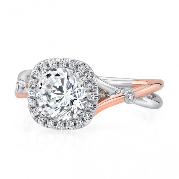 Uneek Round Diamond Engagement Ring with Cushion-Shaped Halo and Two-Tone Silhouette Double Shank wi