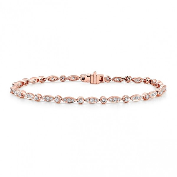 Uneek 14K Rose Gold Diamond Bracelet with Navette-Shaped Clusters and Round Bezel Accents
