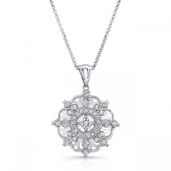 "Uneek ""Snowflake"" Diamond Pendant, in Platinum"