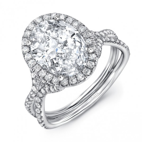 "Uneek Oval Diamond Halo Ring with ""Silhouette"" Double Shank and Flared Pavé Shoulders, in Platinum"