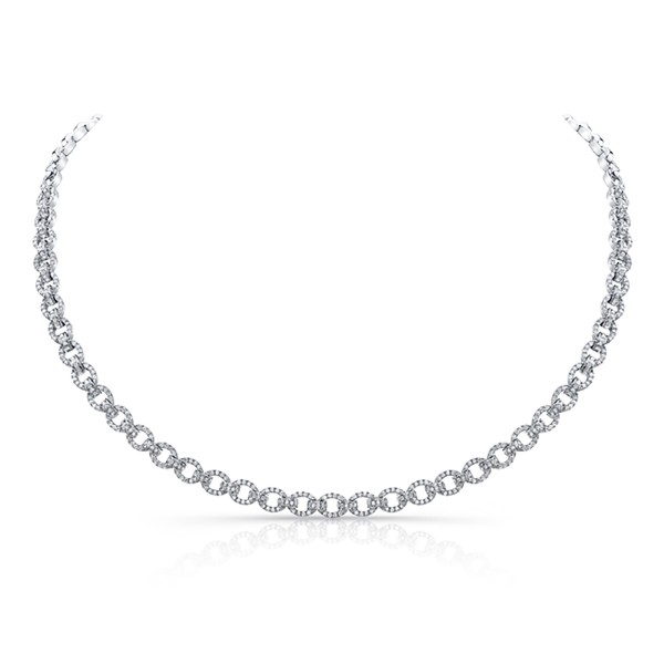 Uneek Diamond Pave Link Necklace, in 14K White Gold