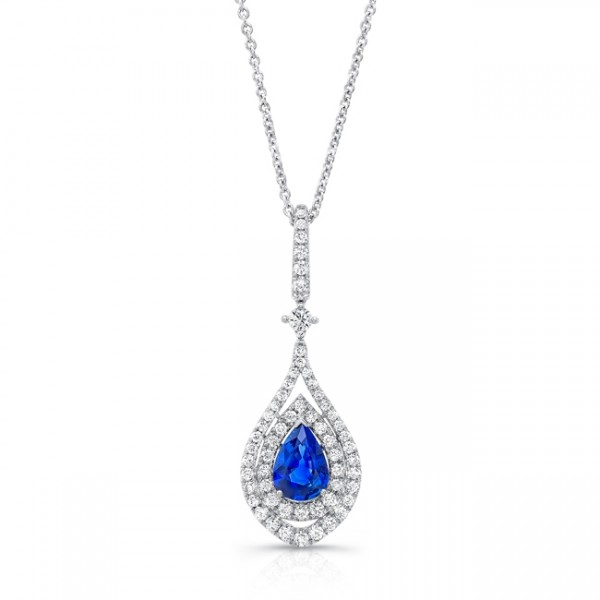 Uneek Pear-Shaped Blue Sapphire Pendant with Diamond Double Halo, in 18K White Gold
