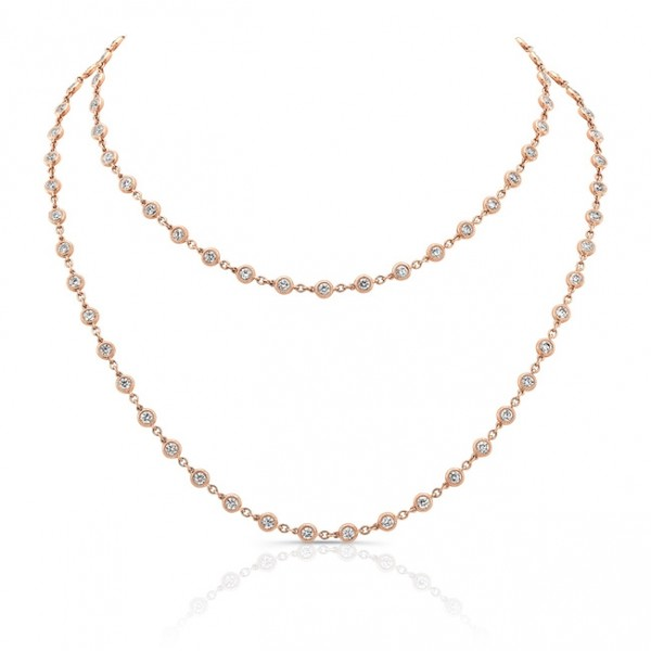 Uneek 32-Inch Diamonds-by-the-Yard Necklace in 18K Rose Gold