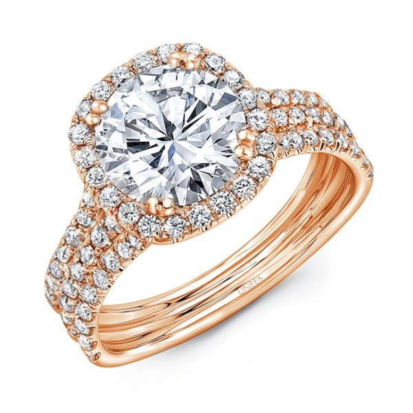 Uneek Round Diamond Engagement Ring with Cushion-Shaped Halo and Pavé Triple Shank, in 14K Rose Gol