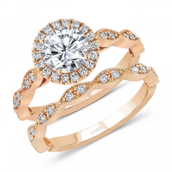 Uneek Round Diamond Halo Engagement Ring and Matching Wedding Band, with Milgrain-Trimmed Marquise-S
