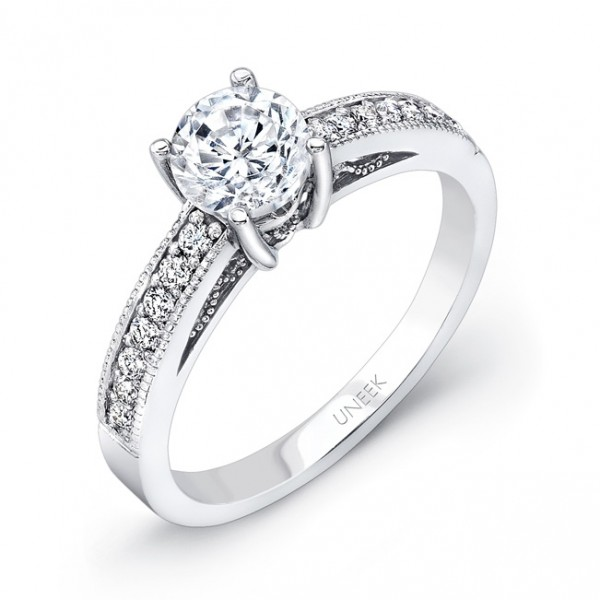 Uneek Round Diamond Engagement Ring with Milgrain and Filigree Detail, in 14K White Gold