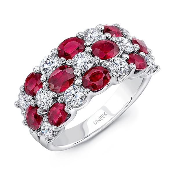 Uneek Oval Ruby and Round Diamond Three-Row Band, in 18K White Gold