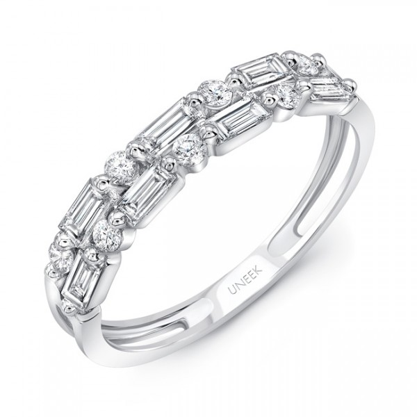 Uneek Baguette and Round Diamond Stack-Illusion Band in 14K White Gold