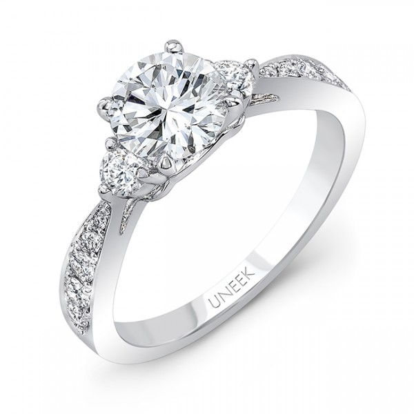 Uneek Classic Round-Center Three-Stone Engagement Ring with Tapered Upper Shank, in 14K White Gold