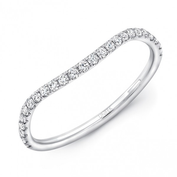 Uneek Silhouette Contoured Pave Diamond Wedding Band in 14K White Gold