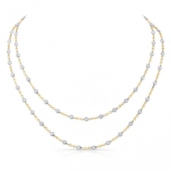 Uneek 32-Inch Diamonds-by-the-Yard Necklace in 18K Two-Tone Gold