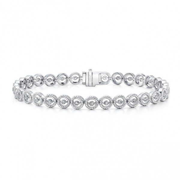 Uneek Round Diamond Bracelet with Rope Milgrain Halo Details, in 14K White Gold