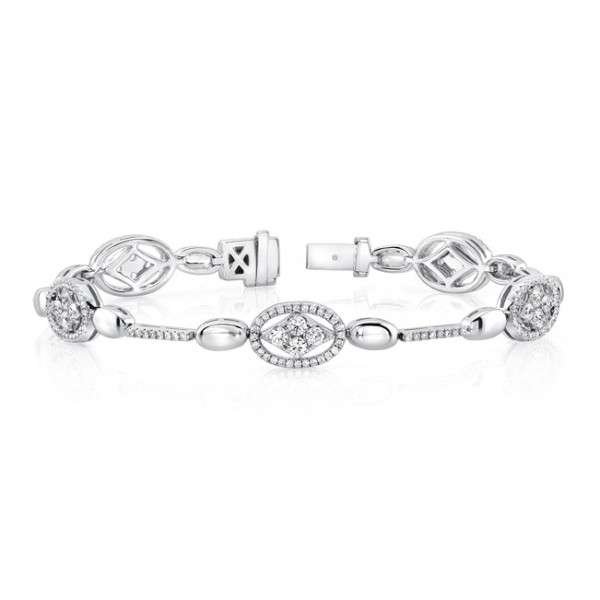 Uneek 14K White Gold Bracelet with Navette Diamond Clusters and Oval Halo Details