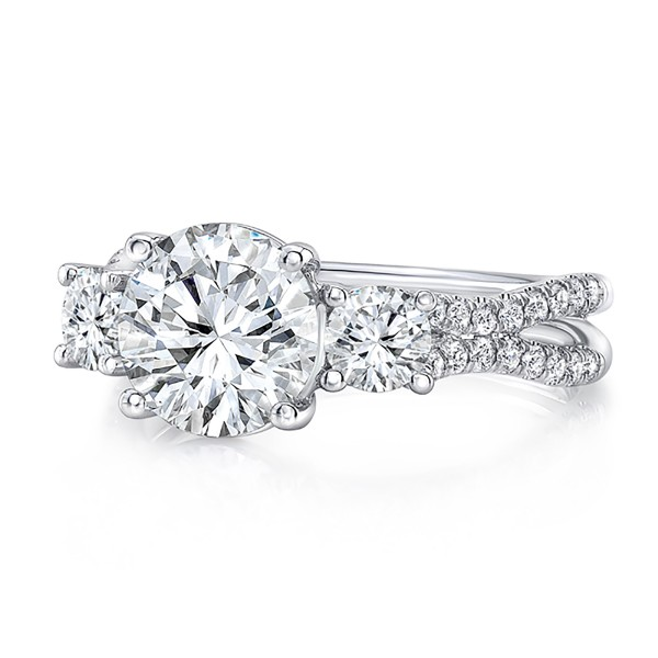 """Uneek Round Diamond Three-Stone Engagement Ring with Pave """"Silhouette"""" Double Shank, in 18K White Go"""