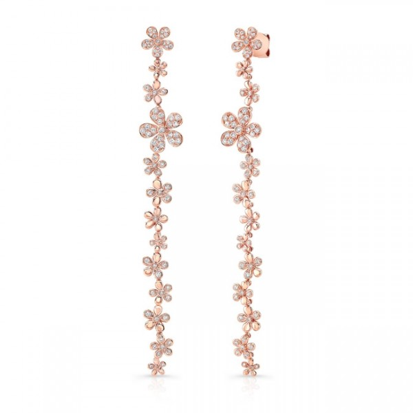Uneek Cascade Collection  Threader-Inspired Dangle Earrings with Floral Motif, in 18K Rose Gold