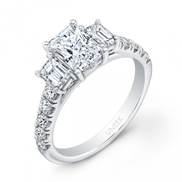 Uneek Emerald-Cut Diamond Three-Stone Engagement Ring with Pave Upper Shank, in 14K White Gold