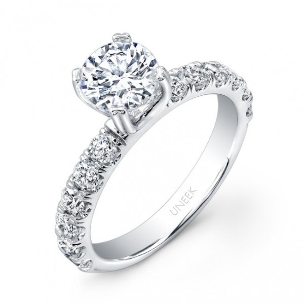 Uneek Classic Round Diamond Engagement Ring with U-Pave Upper Shank, in 14K White Gold