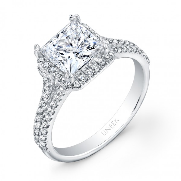 Uneek Princess-Cut Diamond Engagement Ring with Asscher-Shaped Halo and Split Upper Shank, in 14K Wh