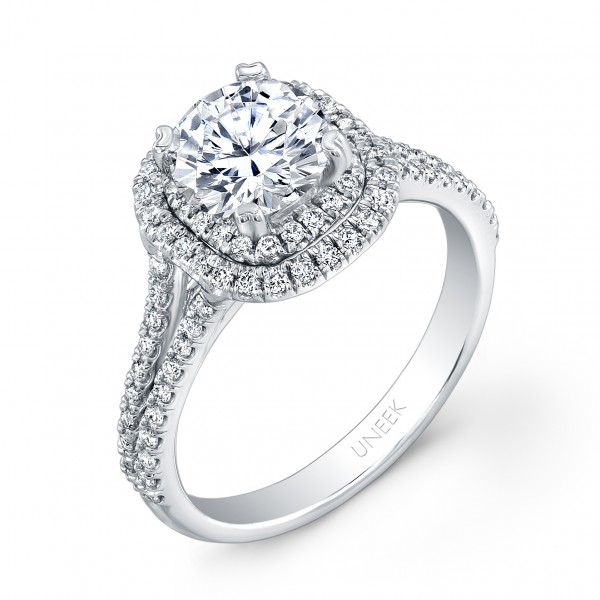 Uneek Round Diamond Engagement Ring with Dreamy Cushion-Shaped Double Halo and Split Upper Shank, in