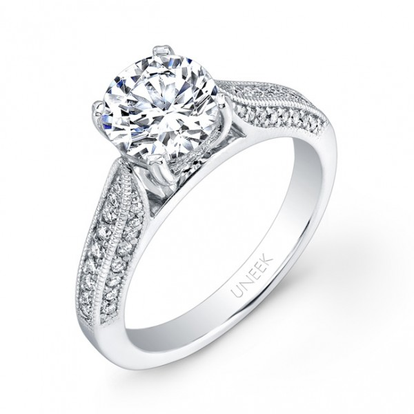 Uneek Round Diamond Engagement Ring with Three-Sided Micropave Upper Shank and Milgrain Edging, in 1