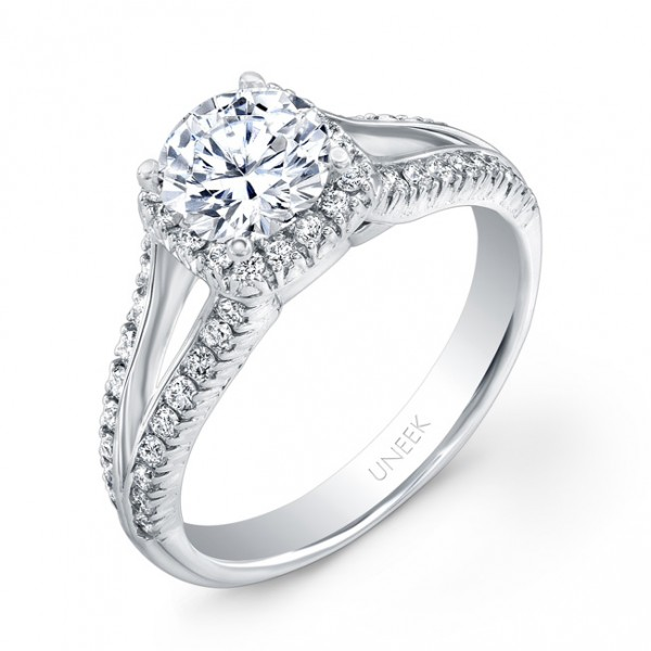 Uneek Round-Diamond-on-Cushion-Halo Engagement Ring with Peekaboo Split Upper Shank, in 14K White Go