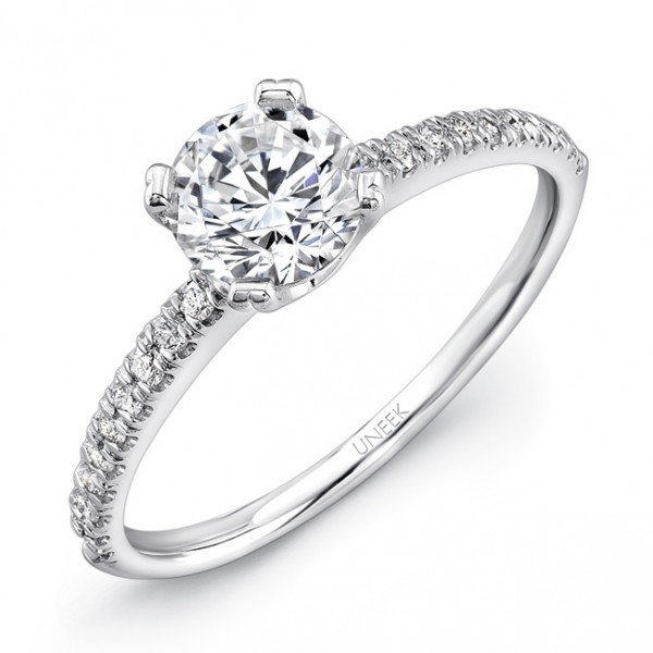 Uneek Round Diamond Non-Halo Engagement Ring with Simple U-Pave Upper Shank, in 14K White Gold