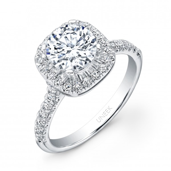 Uneek Classic Round-Diamond-on-Cushion-Halo Engagement Ring with U-Pave Upper Shank, in 14K White Go