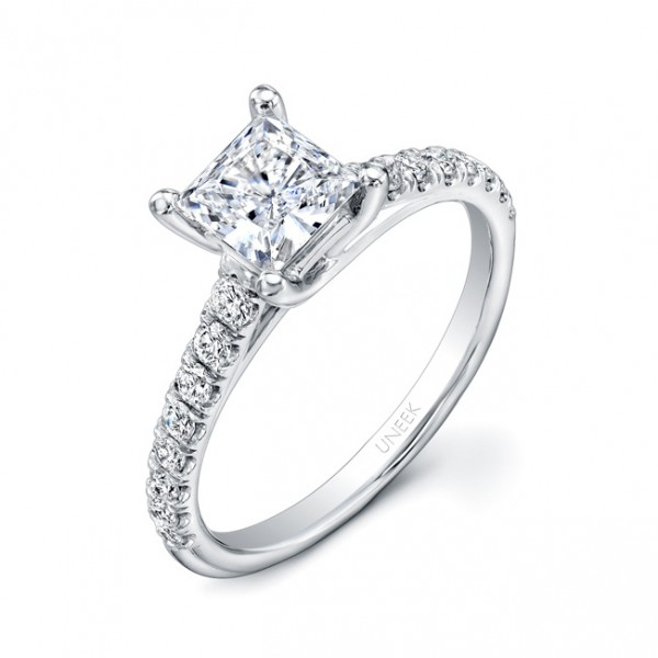 Uneek Princess-Cut Diamond Engagement Ring with Graduated Melee Diamonds U-Pave Set on Upper Shank,