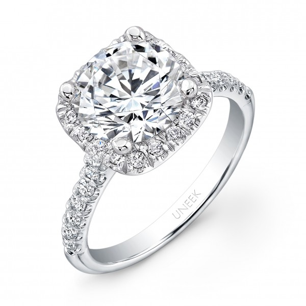 Uneek Contemporary Round-Diamond-on-Cushion-Halo Engagement Ring with U-Pave Upper Shank, in 14K Whi