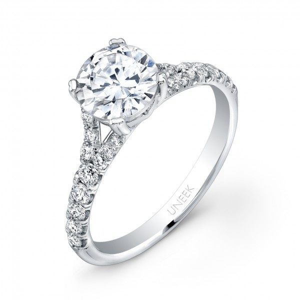 Uneek Contemporary Round Diamond No-Halo Engagement Ring with Split Upper Shank, in 14K White Gold