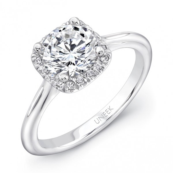 "Uneek Classic Round-Diamond-on-Cushion-Halo Engagement Ring with Sleek, Stoneless Unity ""Tri-Fluted"""