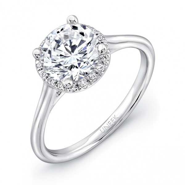 "Uneek Classic Round Diamond Halo Engagement Ring with Sleek, Stoneless Unity ""Tri-Fluted"" Shank, in"