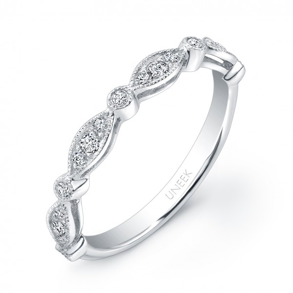 Uneek Art Nouveau-Inspired Diamond Wedding Band in 14K White Gold