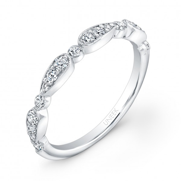 Uneek Antique-Inspired Diamond Wedding Band in 14K White Gold