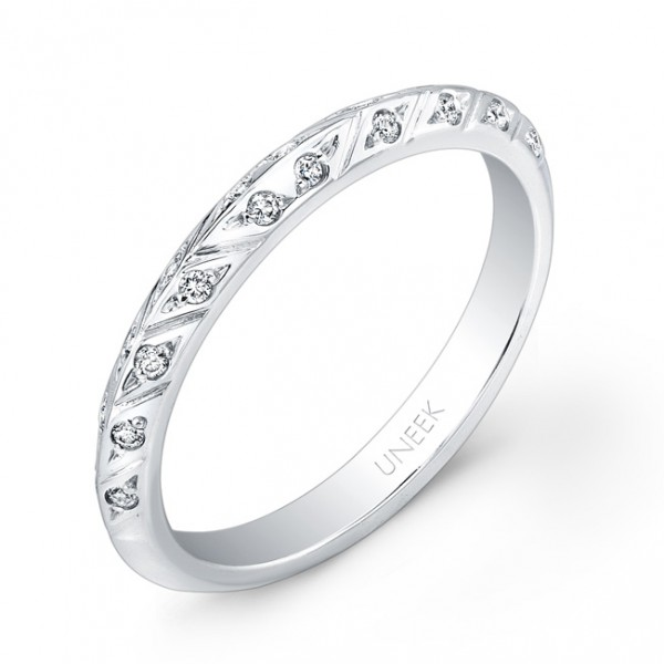 Uneek Hand-Engraved Knife-Edge Diamond Wedding Band in 14K White Gold