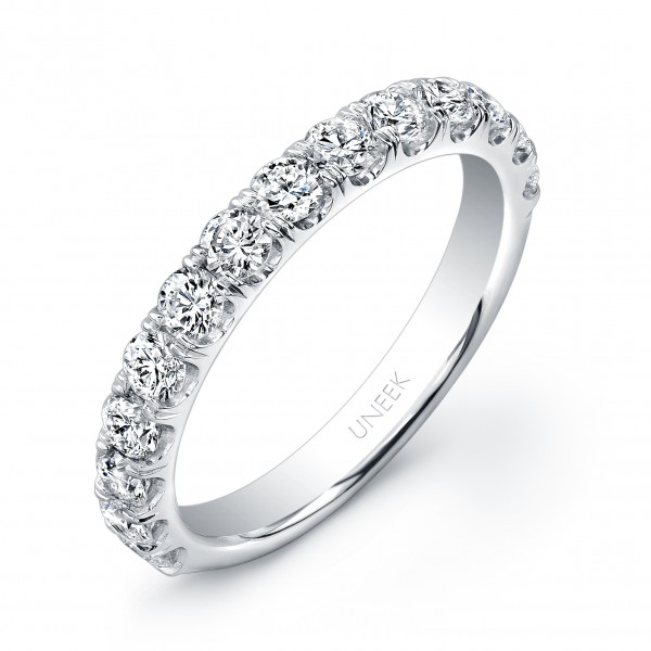Uneek 14-Diamond U-Pave Wedding Band in 14K White Gold