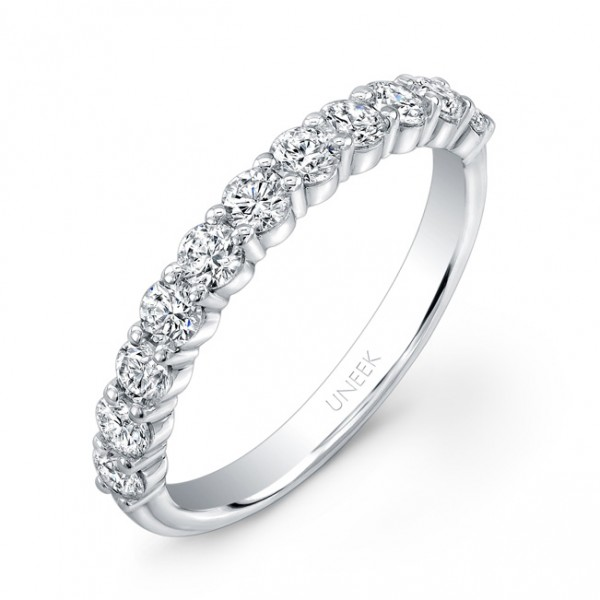Uneek 11-Diamond Shared-Prong Wedding Band with Scalloped Edges, in 14K White Gold