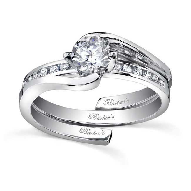 White Gold Diamond Engagement Ring Set   7493SW