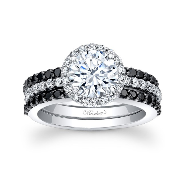 micro engagement pave white bridal diamond halo gold set w
