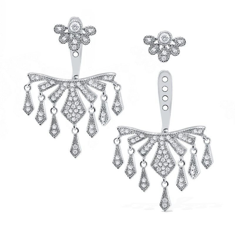 14k Diamond Chandelier Earring Jackets And Studs
