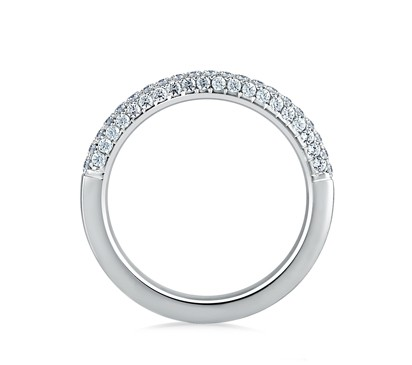 Set Wedding Band With Diamond Studded Profiles